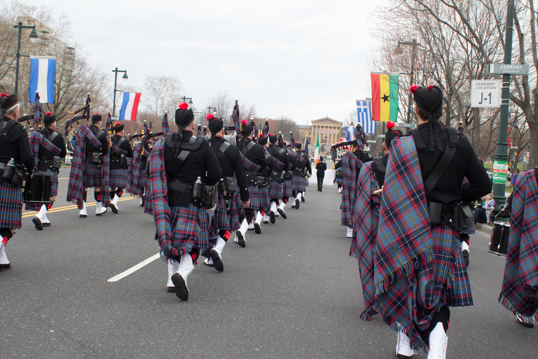 Royal Canadian Mounted Police pipe band marching at the St ... |Police Pipe Band Uniforms